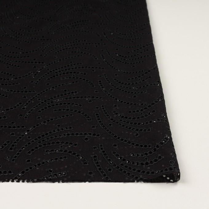 リネン&ポリエステル×幾何学模様(ブラック)×ボイル刺繍_全2色 イメージ3