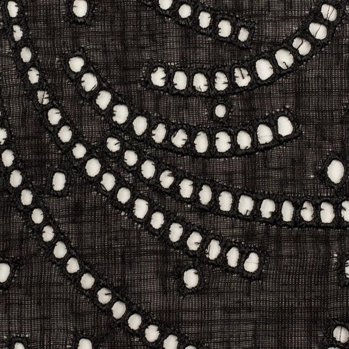 リネン&ポリエステル×幾何学模様(ブラック)×ボイル刺繍_全2色 イメージ1