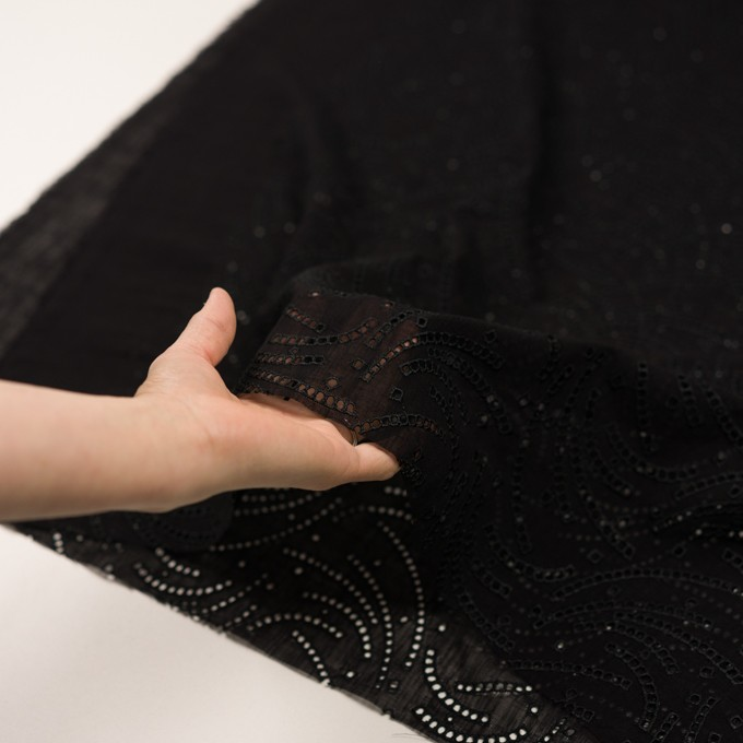 リネン&ポリエステル×幾何学模様(ブラック)×ボイル刺繍_全2色 イメージ5