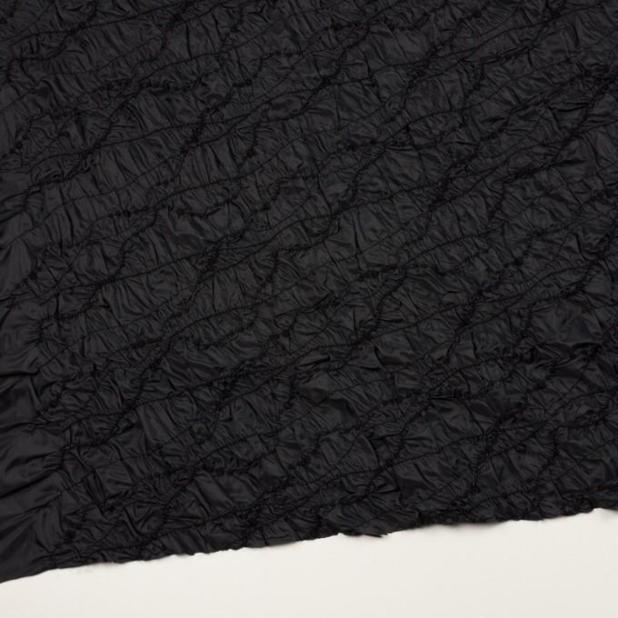 ポリエステル×幾何学模様(ブラック)×タフタシャーリング刺繍 イメージ2