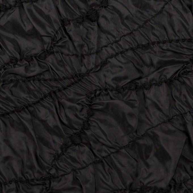 ポリエステル×幾何学模様(ブラック)×タフタシャーリング刺繍 イメージ1