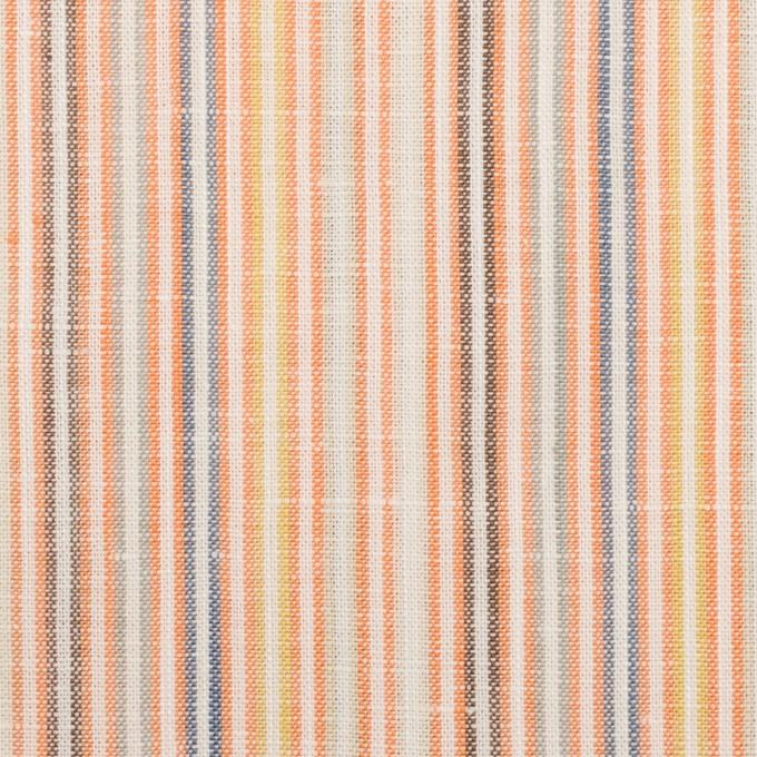 リネン&コットン×ストライプ(オレンジミックス)×薄キャンバス イメージ1