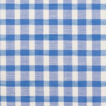 コットン&リネン×チェック(ブルー)×薄シーチング