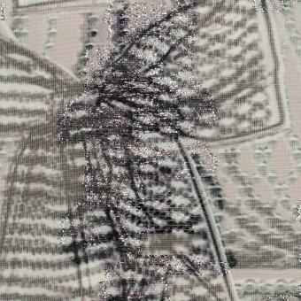 ポリエステル×幾何学模様(スレートグレー)×ジョーゼット・カットジャガード_全2色