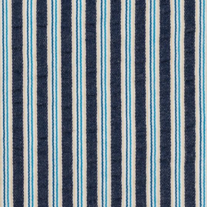 コットン×ストライプ(ネイビー&ブルー)×サッカー イメージ1