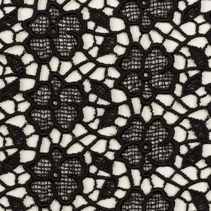 レーヨン×フラワー(ブラック)×ケミカルレース イメージ1