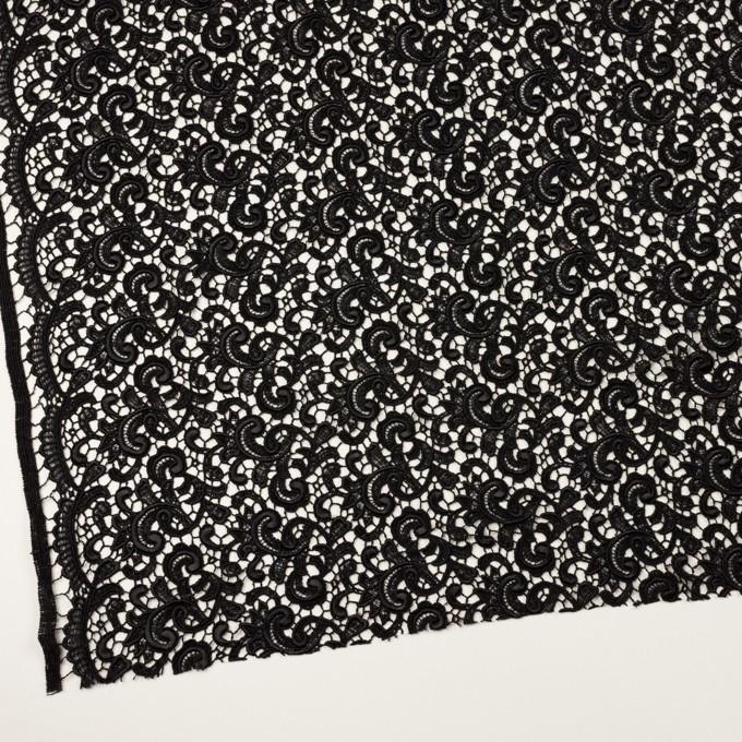 レーヨン×ペイズリー(ブラック)×ケミカルレース イメージ2