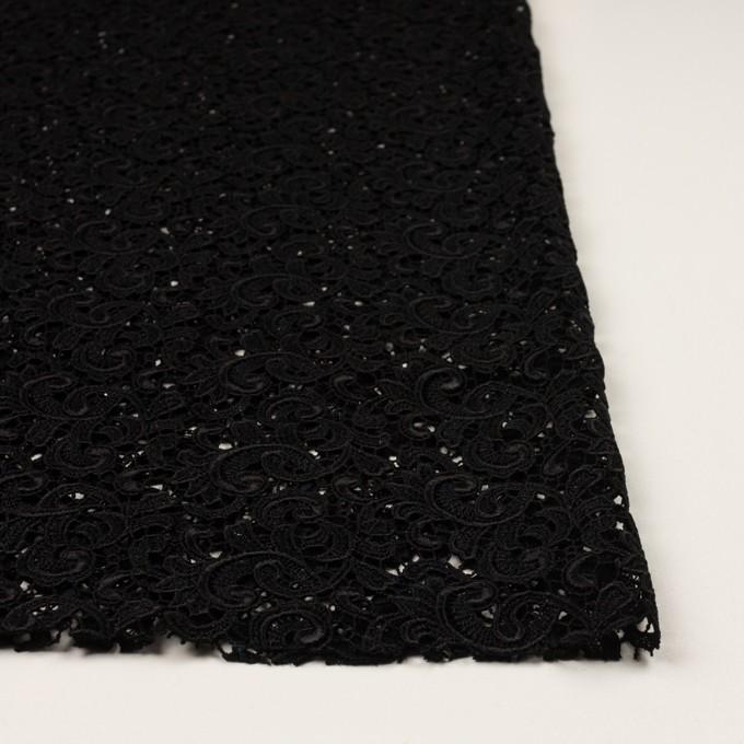 レーヨン×ペイズリー(ブラック)×ケミカルレース イメージ3