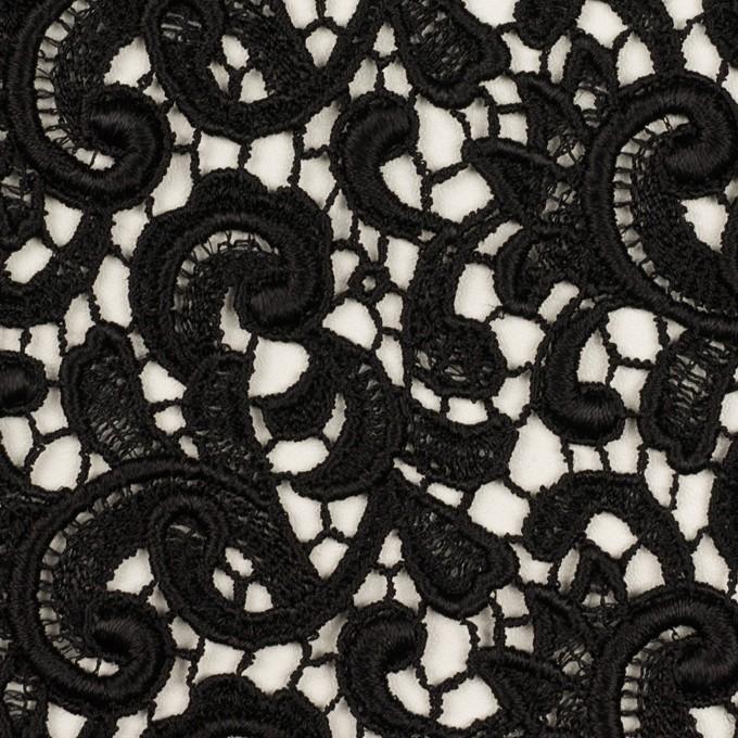 レーヨン×ペイズリー(ブラック)×ケミカルレース イメージ1