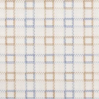 コットン×チェック(ベージュ&サックス)×サージ&斜子織