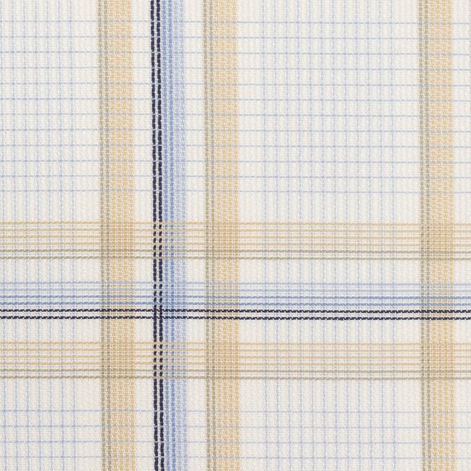 コットン×チェック(ベージュ&サックス)×斜子織 イメージ1