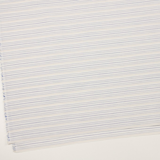 コットン&リネン×ボーダー(ブルー&ベージュ)×ポプリン イメージ2