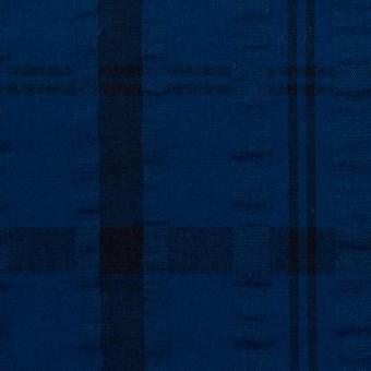 コットン×チェック(プルシアンブルー&ネイビー)×サッカー_全2色 サムネイル1