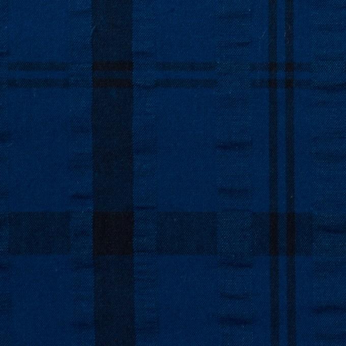 コットン×チェック(プルシアンブルー&ネイビー)×サッカー_全2色 イメージ1