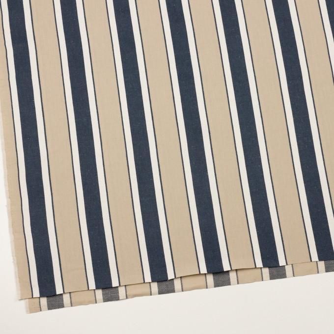 コットン&リネン×ストライプ(カーキベージュ&ネイビー)×キャンバス・ジャガード イメージ2