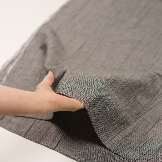 コットン&ポリエステル×チェック(シルバー&ブラック)×斜子織ワッシャー イメージ5