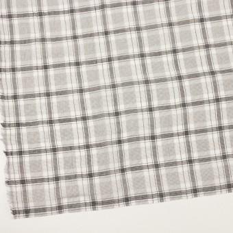コットン&シルク×チェック(アイボリー&チャコール)×オーガンジー・ワッシャー サムネイル2
