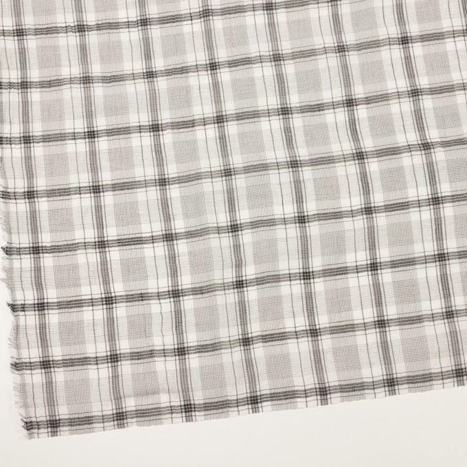 コットン&シルク×チェック(アイボリー&チャコール)×オーガンジー・ワッシャー イメージ2