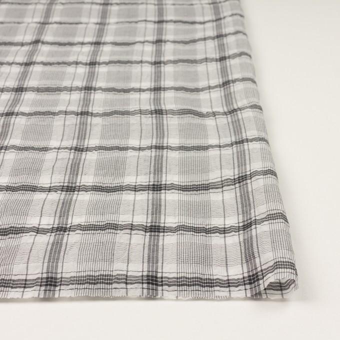 コットン&シルク×チェック(アイボリー&チャコール)×オーガンジー・ワッシャー イメージ3