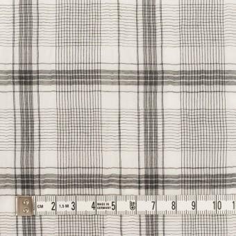 コットン&シルク×チェック(アイボリー&チャコール)×オーガンジー・ワッシャー サムネイル4