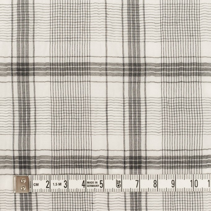 コットン&シルク×チェック(アイボリー&チャコール)×オーガンジー・ワッシャー イメージ4