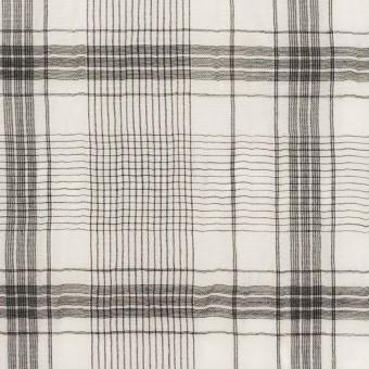 コットン&シルク×チェック(アイボリー&チャコール)×オーガンジー・ワッシャー サムネイル1
