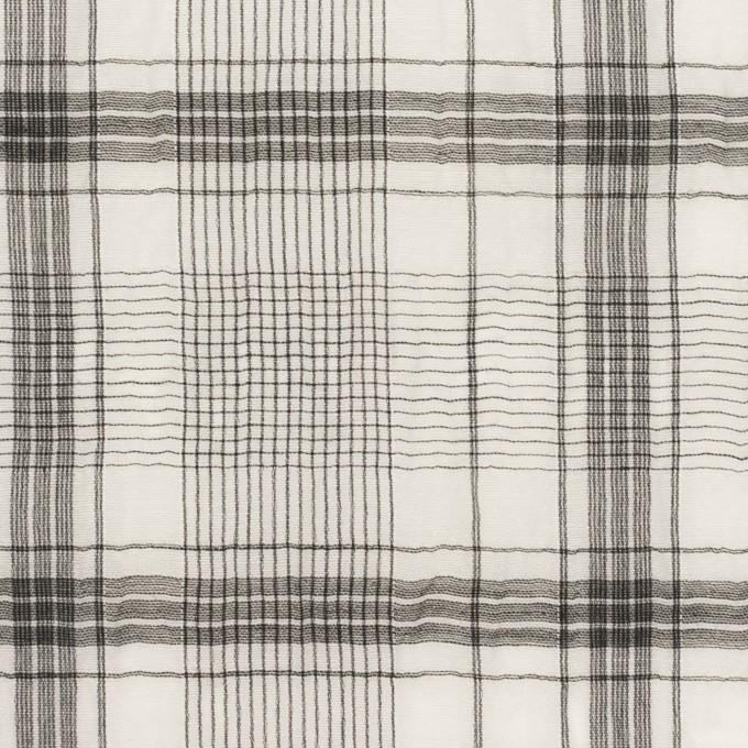 コットン&シルク×チェック(アイボリー&チャコール)×オーガンジー・ワッシャー イメージ1