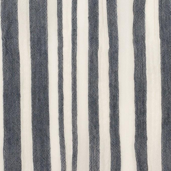 レーヨン&コットン混×ストライプ(ミルク&アッシュネイビー)×ヨウリュウ イメージ1