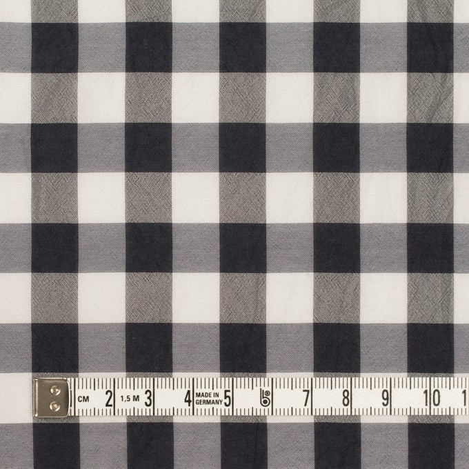 シルク&キュプラ×チェック(アイボリー&ダークネイビー)×シフォン イメージ4