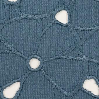 コットン×フラワー(アッシュブルー)×ピケ刺繍 サムネイル1