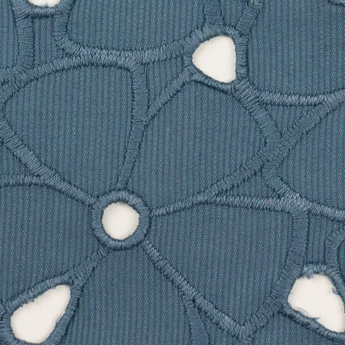 コットン×フラワー(アッシュブルー)×ピケ刺繍 イメージ1