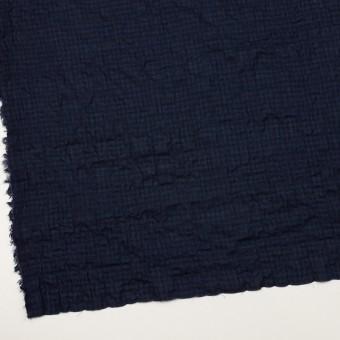 コットン&ポリウレタン×チェック(プルシアンブルー&ブラック)×ボイルシャーリング サムネイル2