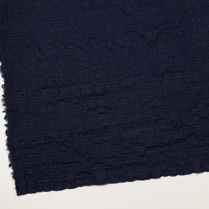 コットン&ポリウレタン×チェック(プルシアンブルー&ブラック)×ボイルシャーリング イメージ2