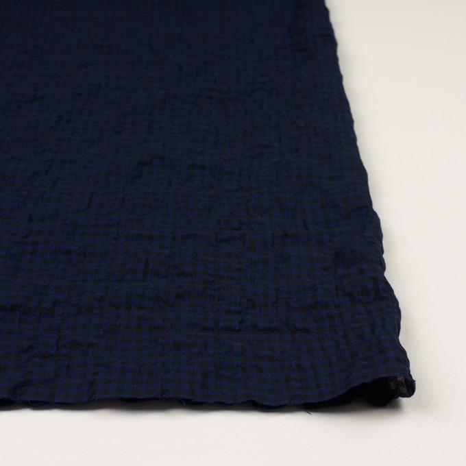 コットン&ポリウレタン×チェック(プルシアンブルー&ブラック)×ボイルシャーリング イメージ3