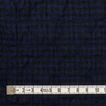 コットン&ポリウレタン×チェック(プルシアンブルー&ブラック)×ボイルシャーリング サムネイル4