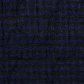 コットン&ポリウレタン×チェック(プルシアンブルー&ブラック)×ボイルシャーリング サムネイル1