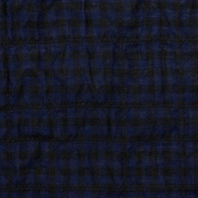 コットン&ポリウレタン×チェック(プルシアンブルー&ブラック)×ボイルシャーリング イメージ1