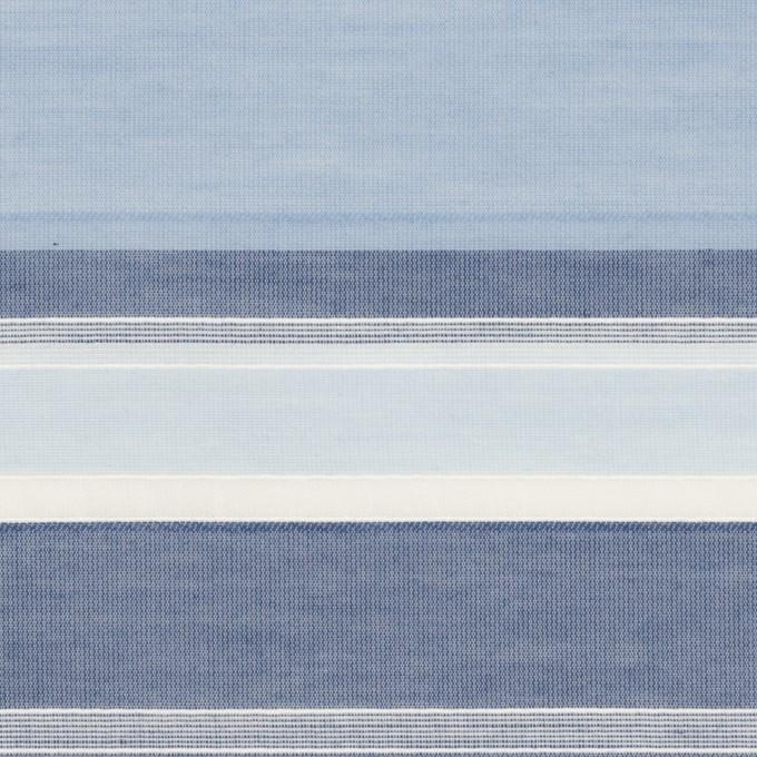 コットン&ポリエステル×ボーダー(サックス&ネイビー)×ローンジャガード イメージ1