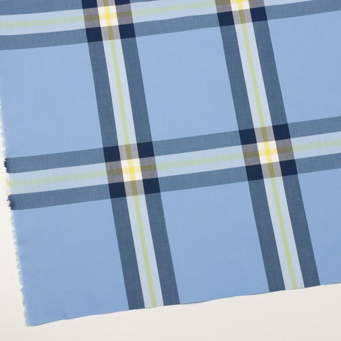 コットン×チェック(ライトブルー、ネイビー&イエロー)×ブロード イメージ2