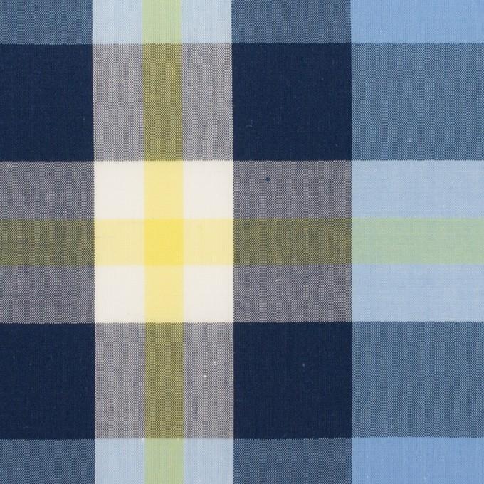 コットン×チェック(ライトブルー、ネイビー&イエロー)×ブロード イメージ1