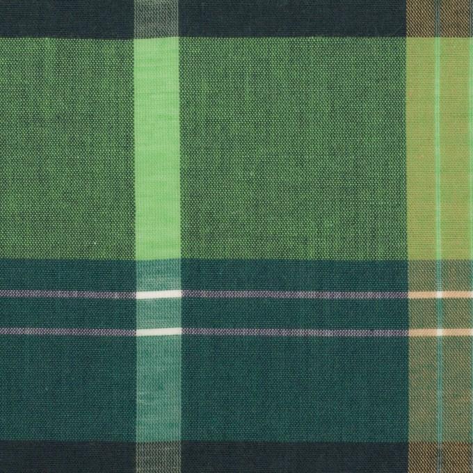 コットン&ポリエステル混×チェック(アボカド)×ローン_全2色_パネル イメージ1