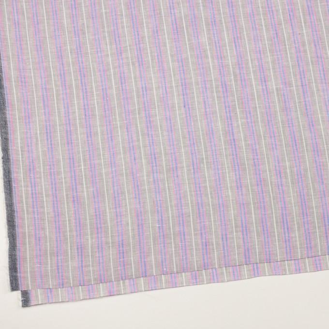 リネン&コットン×ストライプ(グレイッシュベージュ、ピンク&ブルー)×薄キャンバス イメージ2
