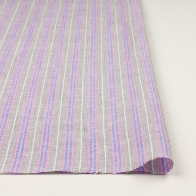 リネン&コットン×ストライプ(グレイッシュベージュ、ピンク&ブルー)×薄キャンバス イメージ3