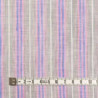 リネン&コットン×ストライプ(グレイッシュベージュ、ピンク&ブルー)×薄キャンバス サムネイル4