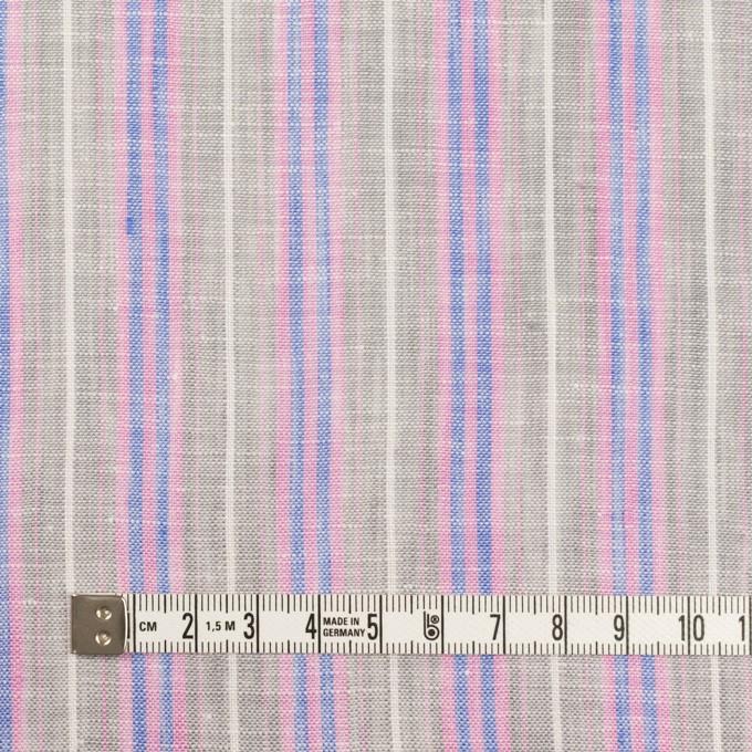 リネン&コットン×ストライプ(グレイッシュベージュ、ピンク&ブルー)×薄キャンバス イメージ4