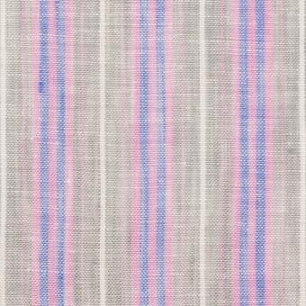リネン&コットン×ストライプ(グレイッシュベージュ、ピンク&ブルー)×薄キャンバス サムネイル1