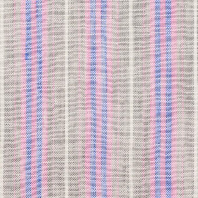 リネン&コットン×ストライプ(グレイッシュベージュ、ピンク&ブルー)×薄キャンバス イメージ1