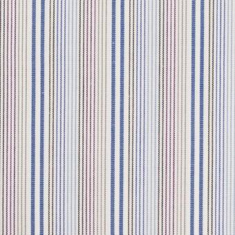 コットン×ストライプ(ブルー、サックス&カーキ)×ブロード