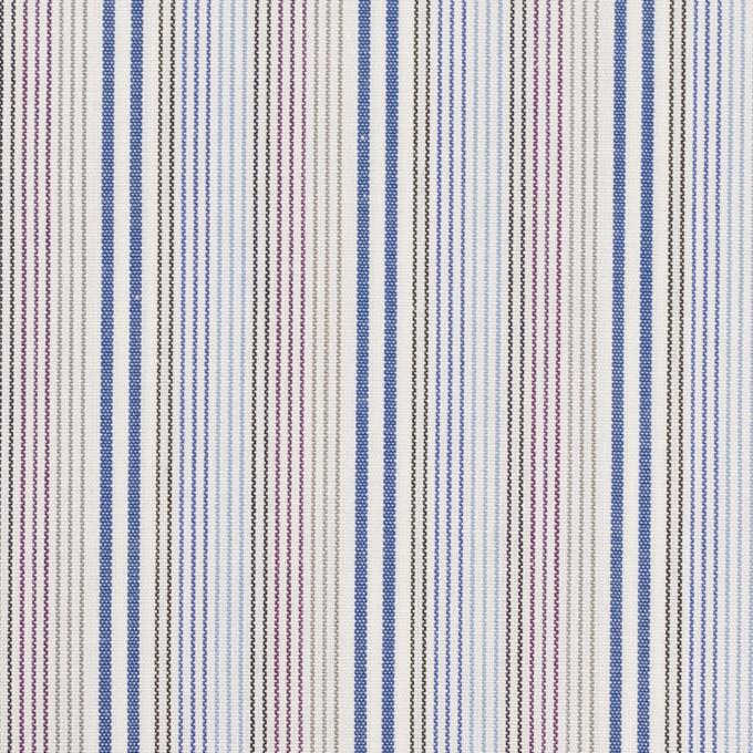 コットン×ストライプ(ブルー、サックス&カーキ)×ブロード イメージ1