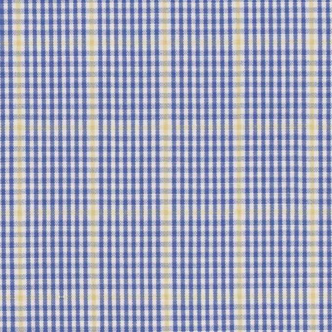 コットン×チェック(ブルー&マスタード)×ブロード イメージ1